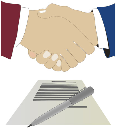 treaty: Hand shake above the document. The vector image.
