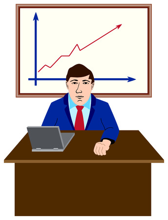 The businessman behind a table. The vector image. Vector