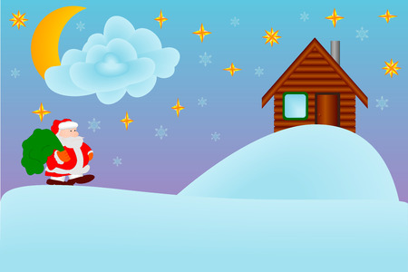 night suit: Christmas night. Santa Claus carries gifts. A vector illustration.