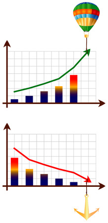 Diagrams of growth and downturn. The vector image. Vector
