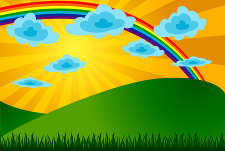 Summer landscape with a rainbow. The vector image. Vector