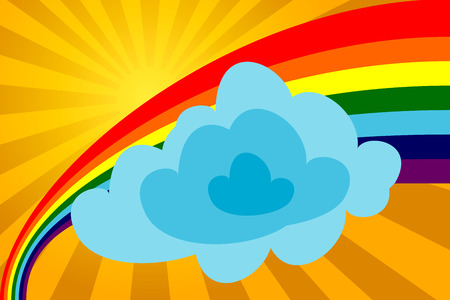 Sunny day with a rainbow and a cloud. The vector image. Stock Vector - 1893943