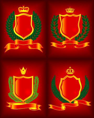 Four heraldic escutcheon. The vector image. Vector
