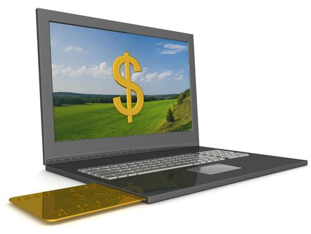 creditcard: Opel laptop with credit-card. 3D image.