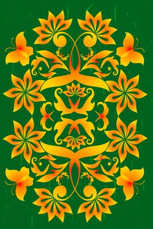 Grunge floral background. Vector illustration. Vector