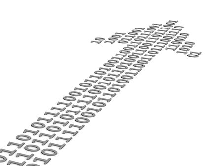 paths: Arrow made of zeroes and ones. 3D image. Stock Photo