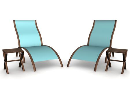 Two deckchairs on a white background. 3D image. Stock Photo - 2778672