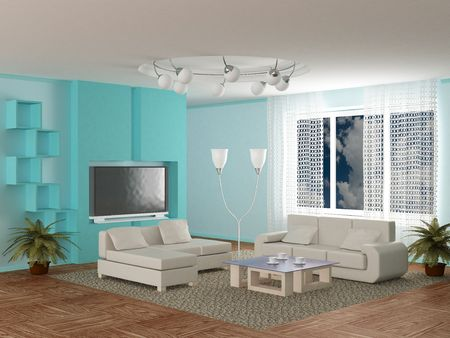 settee: Interior of a room of rest. 3D image  Stock Photo