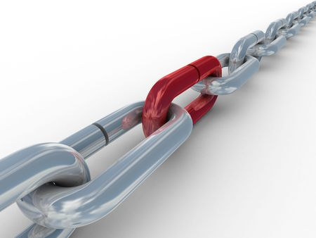 Metal chain on a white background. 3D image. Stock Photo