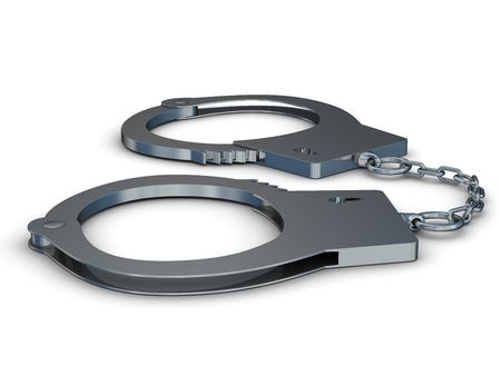 Handcuffs on a white background. Isolated 3D image Stock Photo - 4094385