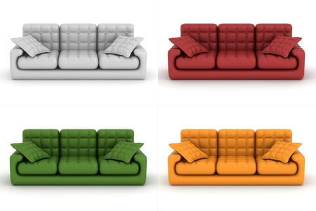 set leather sofa on a white background. 3D image. photo