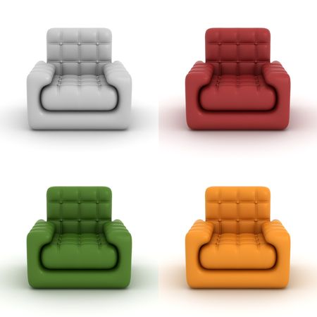 set leather armchair on a white background. 3D image. photo