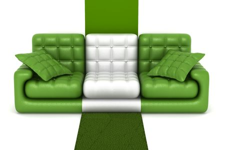 refreshment: Isolated leather sofa. An interior. 3D image.