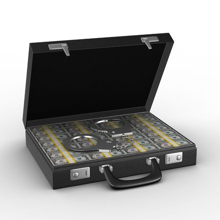 capital punishment: Criminal money in suitcase. Isolated 3D image Stock Photo
