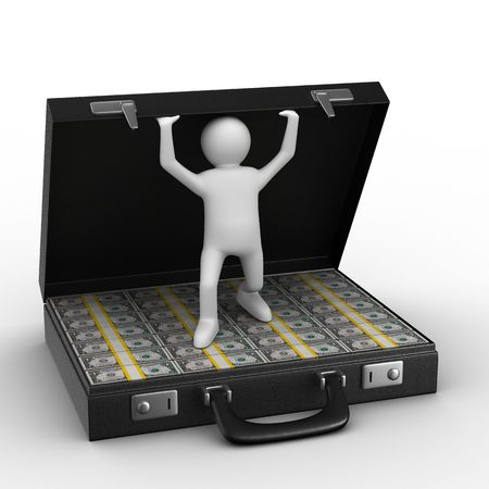Open suitcase with dollars on white background. Isolated 3D image Stock Photo - 6493494
