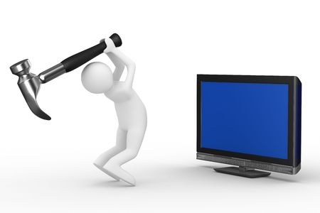 lcd: TV technical service. Isolated 3D image Stock Photo