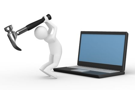 Computer technical service. Isolated 3D image photo