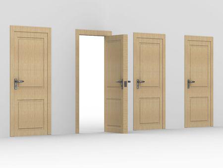 wooden open door. 3D image. home interior photo