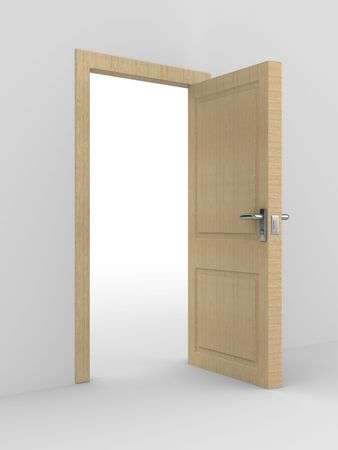wooden open door. 3D image. home interior Stock Photo - 6589001