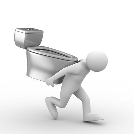 men carry toilet bowl on back. Isolated 3D image Stock Photo - 6589003
