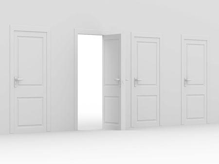 white open door. 3D image. home inter Stock Photo - 6589000