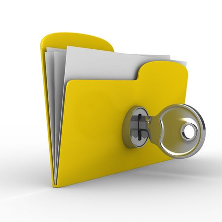 unlocking: Yellow computer folder with key. Isolated 3d image Stock Photo