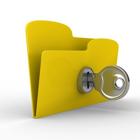 Yellow computer folder with key. Isolated 3d image photo