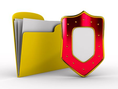Yellow computer folder with shield. Isolated 3d image Stock Photo - 7199638