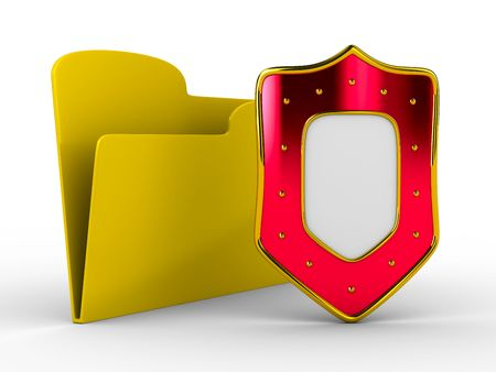 Yellow computer folder with shield. Isolated 3d image Stock Photo - 7199637