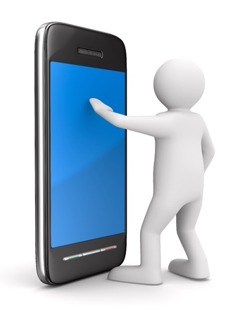 blue man: man with phone on white. Isolated 3D image Stock Photo