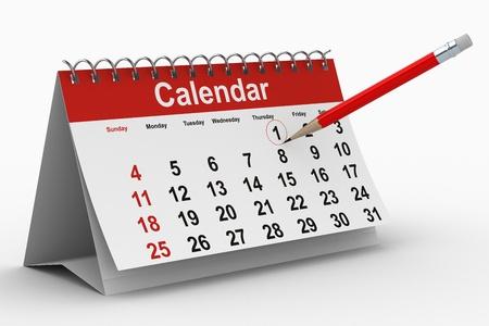 one sheet: calendar on white background. Isolated 3D image Stock Photo