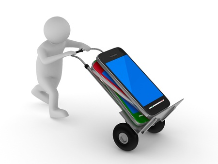 phone service: man transportation mobile phone. Isolated 3D image