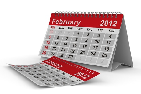 2012 year calendar. February. Isolated 3D image photo