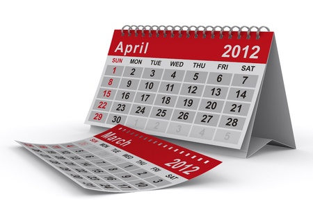 2012 year calendar. April. Isolated 3D image photo