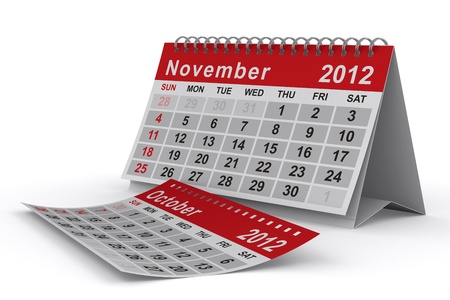 2012 year calendar. November. Isolated 3D image photo