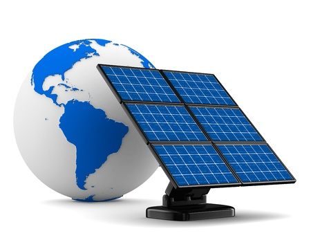 nonpolluting: solar battery on white background  Isolated 3d image