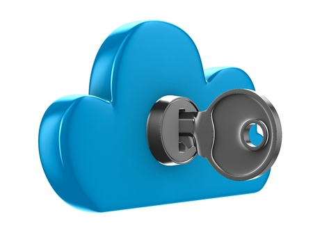 encryption icon: Cloud with key on white background  Isolated 3D image