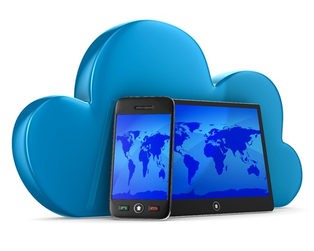 Cloud technology on white background  Isolated 3D image Stock Photo