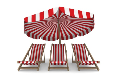 Three deckchair and parasol on white background. Isolated 3D image photo