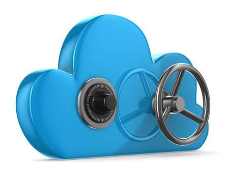 private security: Cloud with lock on white background. Isolated 3D image