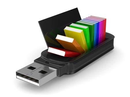 usb flash drive and books on white background. Isolated 3D image photo