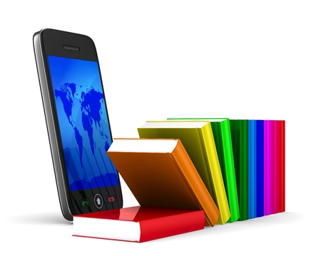 gprs: phone and books on white background. Isolated 3D image