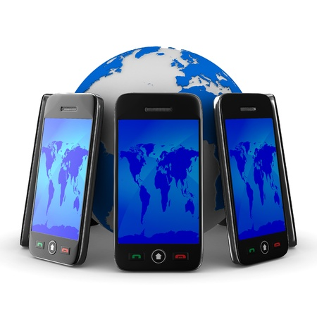 phones and globe on white background. Isolated 3D image photo