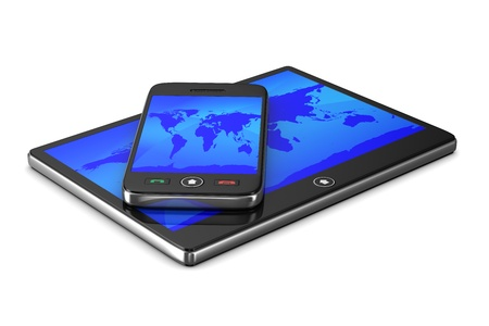 gprs: phone and tablet on white background. Isolated 3D image