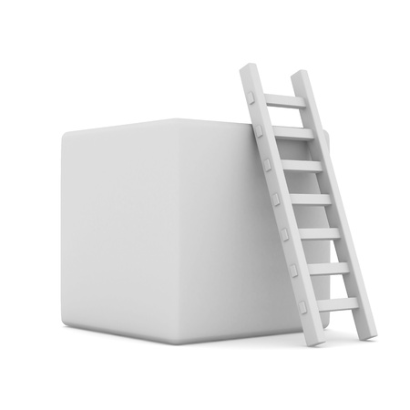 clambering: box and staircase. Isolated 3D image