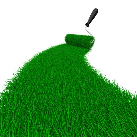 overgrown: road from grass on white. Isolated 3D image Stock Photo
