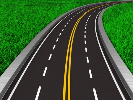 asphalted road on grass. Isolated 3D image Stock Photo