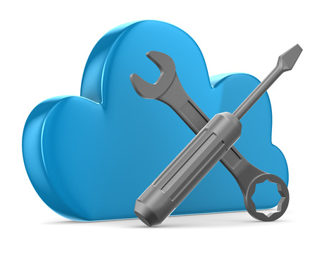 sync: Cloud and tools on white background. Isolated 3D image  Stock Photo