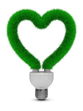 bombillo ahorrador: ahorro de energ?a bombilla sobre fondo blanco. Aislados imagen en 3D Foto de archivo
