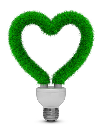 electricity 3d: energy saving bulb on white background. Isolated 3D image Stock Photo